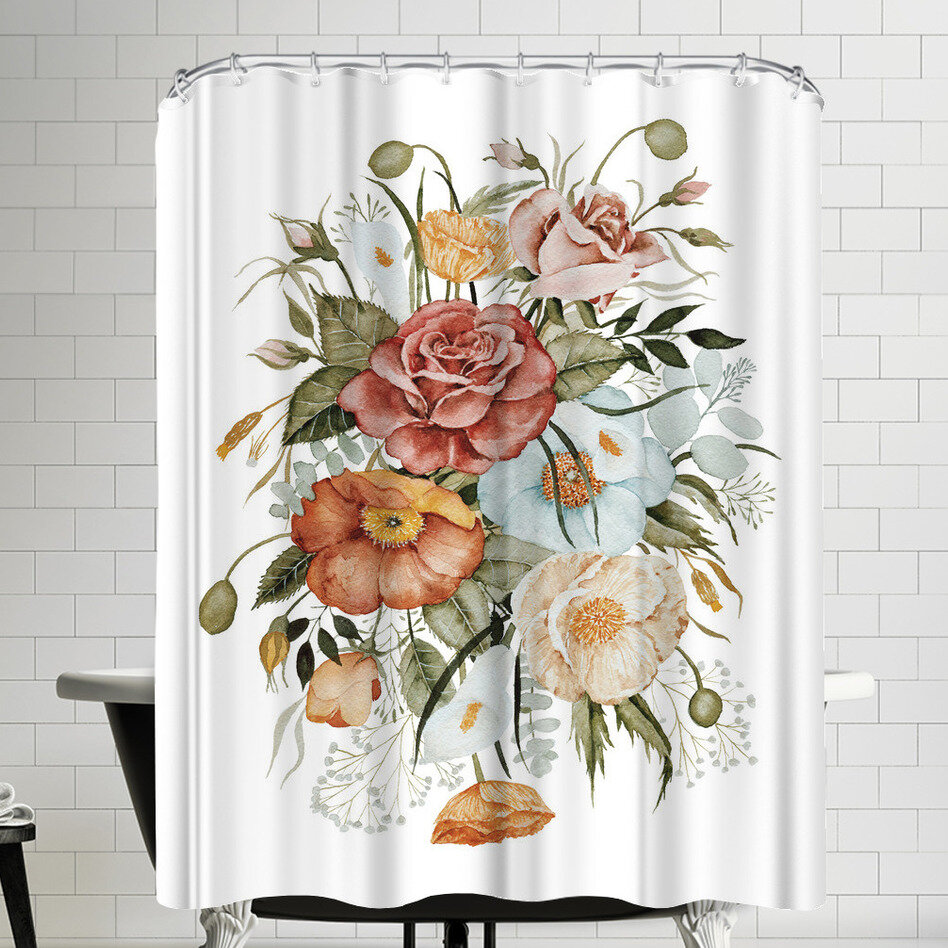 East Urban Home Roses And Poppies Shower Curtain