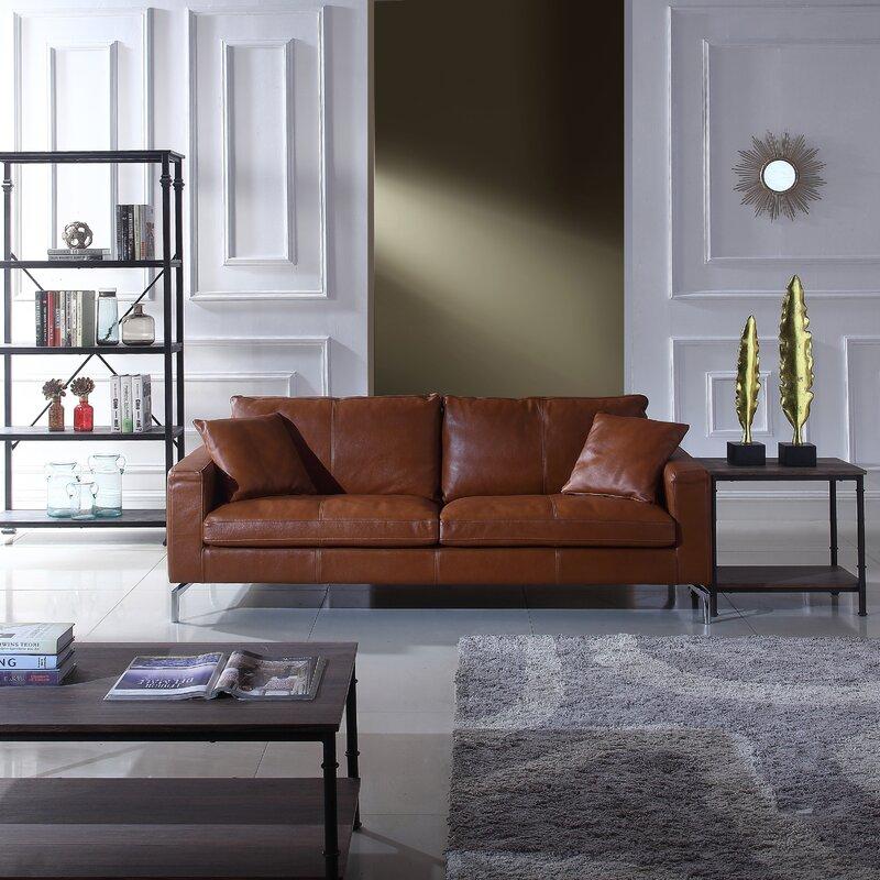 Orren Ellis Nyyear Mid Century Modern Plush Top Grain Leather Sofa