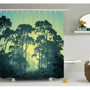 Clematite Nature Mist Forest Scenery With Tree Tops At Sunset Hazy Woodland Rural Landscape Shower Curtain + Hooks