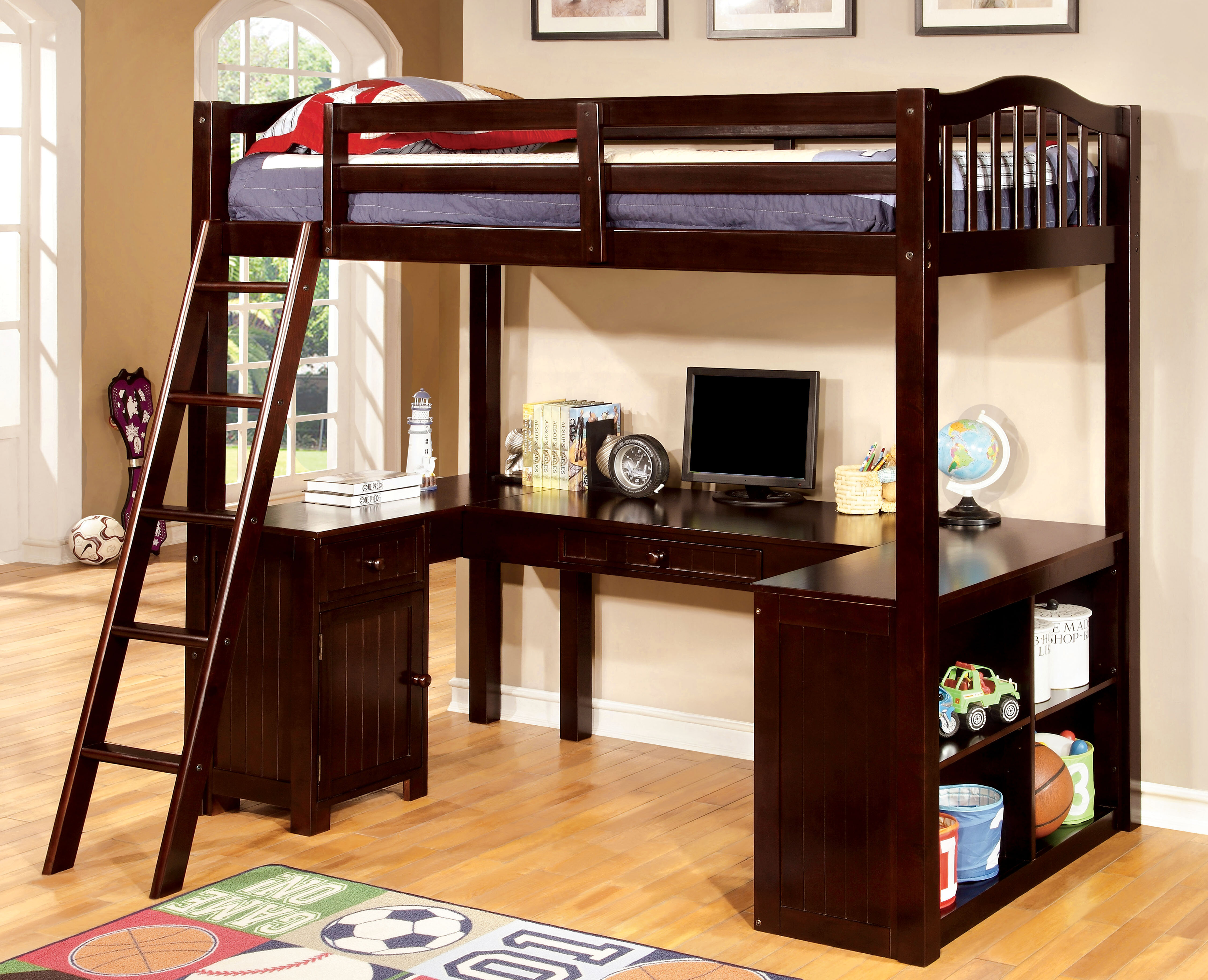 Picture of: Hokku Designs Colony Twin Loft Bed With Desk And Bookcase Reviews