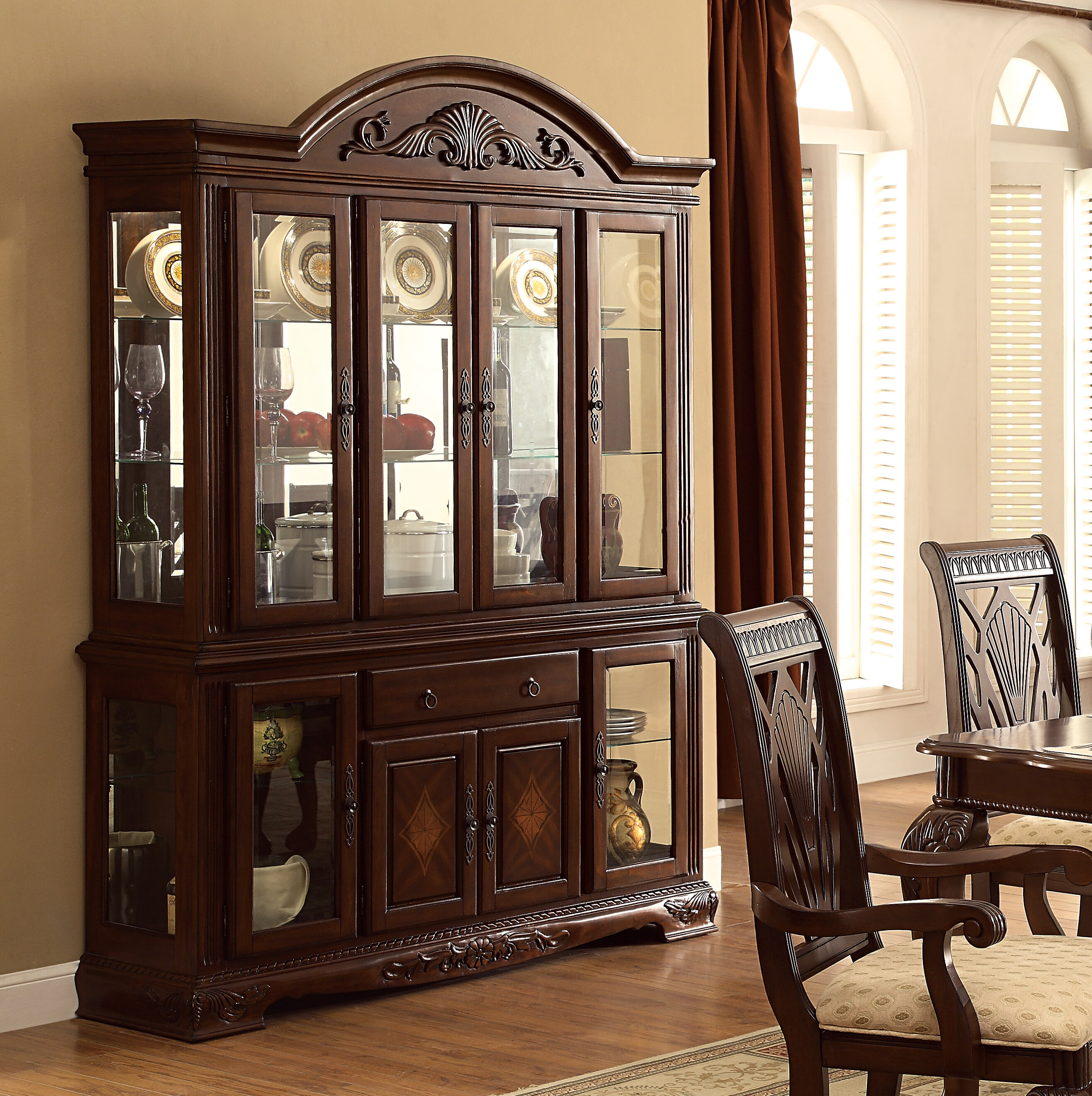 Cherry Wood Display China Cabinets You Ll Love In 2021 Wayfair