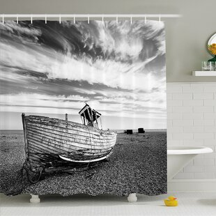 Affordable Ocean Picture of a Dated Wooden Boat on Rocky Beach and Stormy Clouds in the Sky Shower Curtain Set By Ambesonne