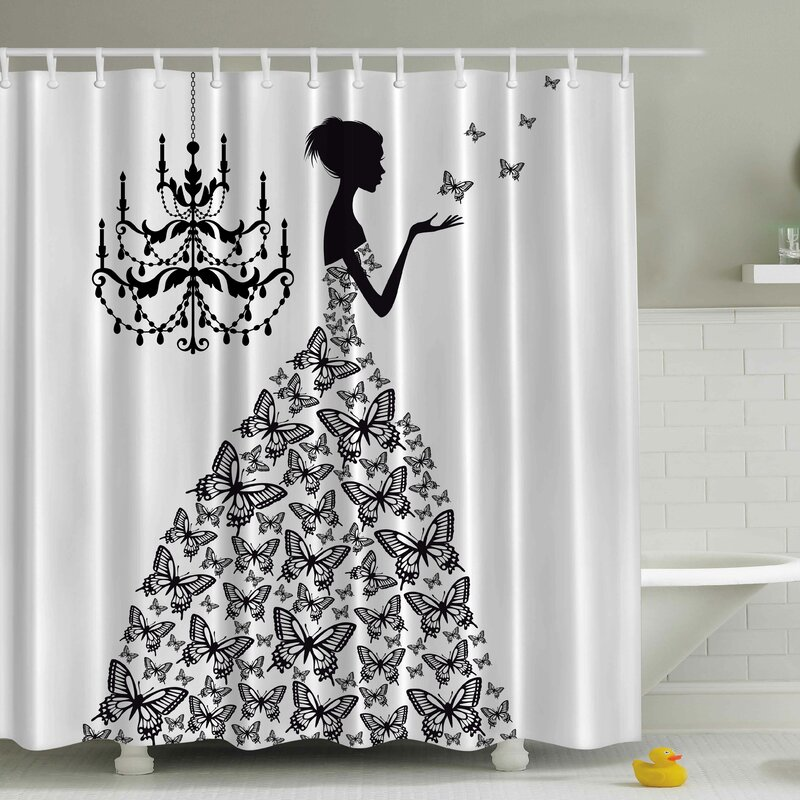Viv Rae Rowena Madame Butterfly Print Shower Curtain Reviews