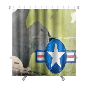 Patriotic Airplane with United States Air Force Sign Premium Single Shower Curtain