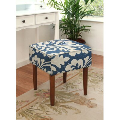 123 Creations Jacobean Floral Upholstered Vanity Stool Color Navy Blue