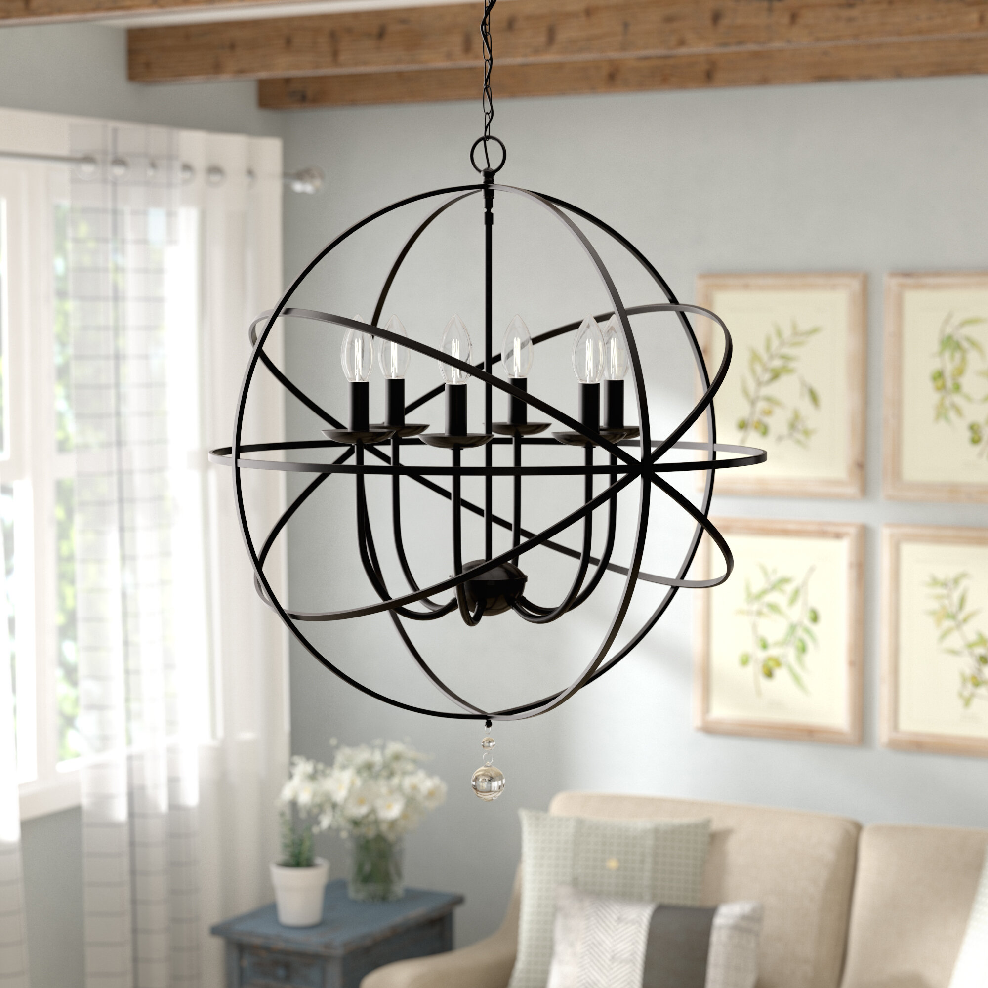 Gracie Oaks Eastbourne 6 Light Unique Statement Globe Chandelier Reviews Wayfair