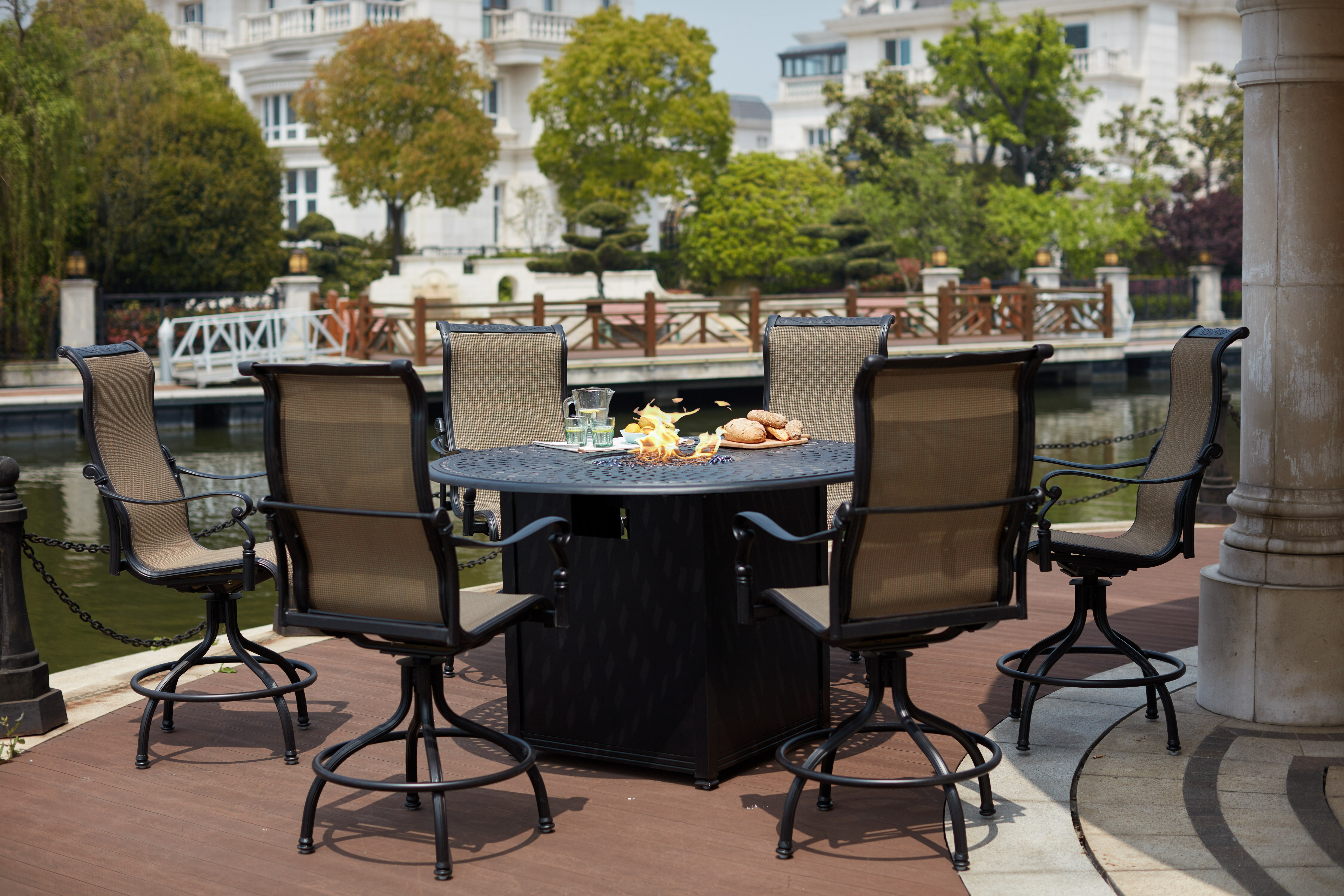 Image of: Canora Grey Millman 7 Piece Bar Height Dining Set With Firepit Wayfair