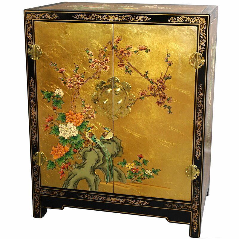 World Menagerie Camille Gold Leaf Lacquer Accent Cabinet Reviews Wayfair