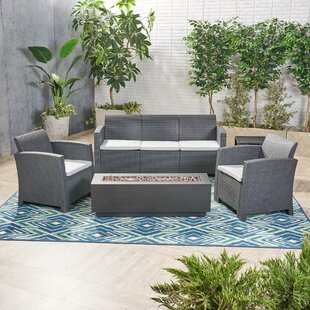 Phyllida Outdoor 5 Piece Rattan Sofa Seating Group with Cushions