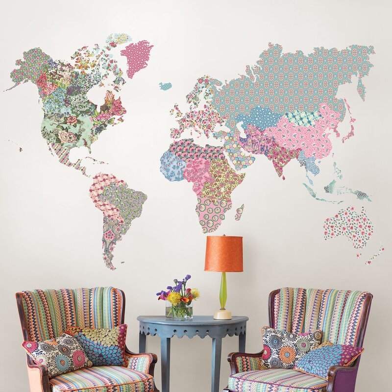 Exceptionnel Boho World Map Wall Decal