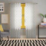 Hathaway Geometric Semi-Sheer Rod Pocket Single Curtain Panel