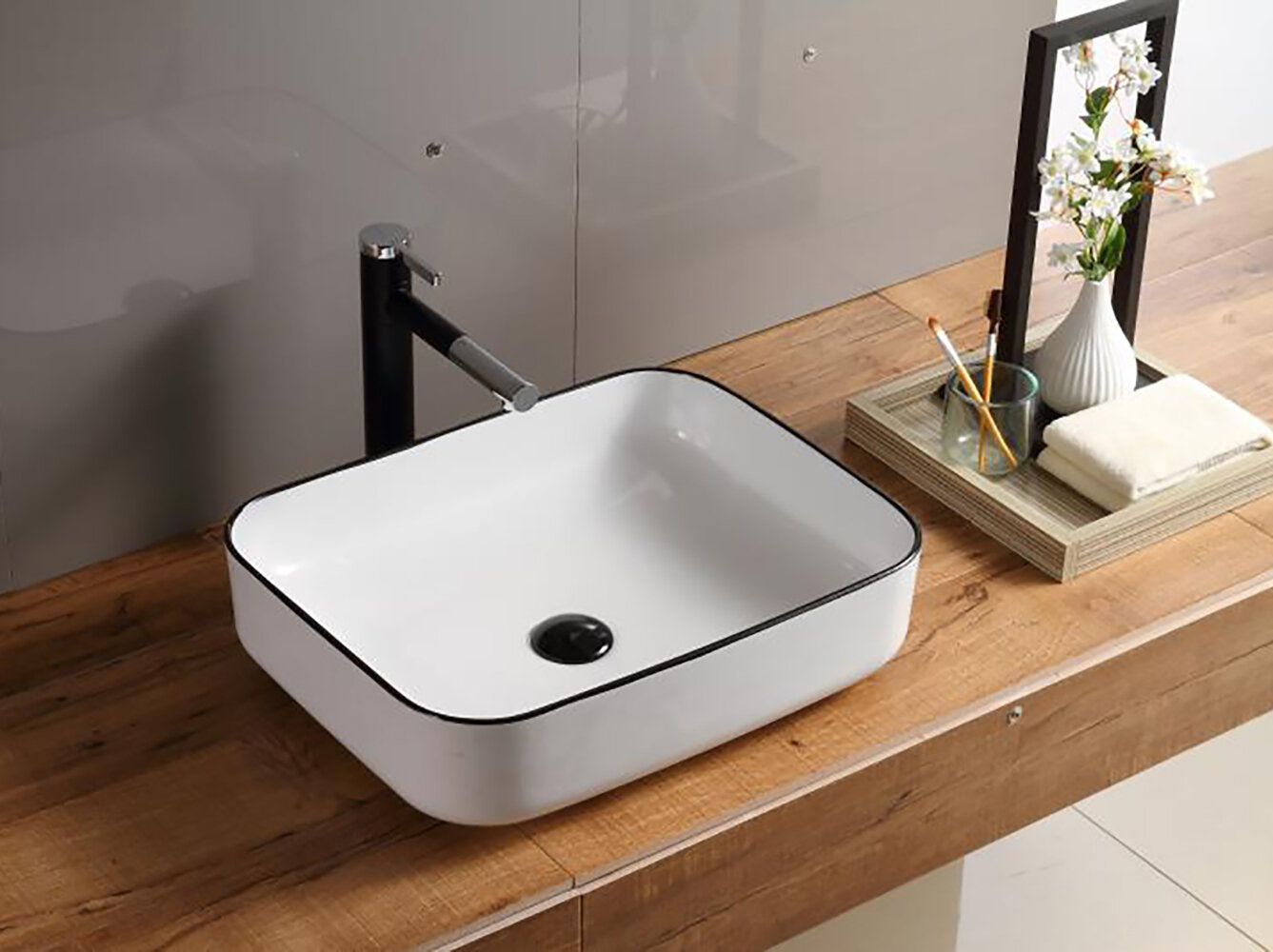 Hometure Above Ceramic Rectangular Vessel Bathroom Sink Reviews Wayfair