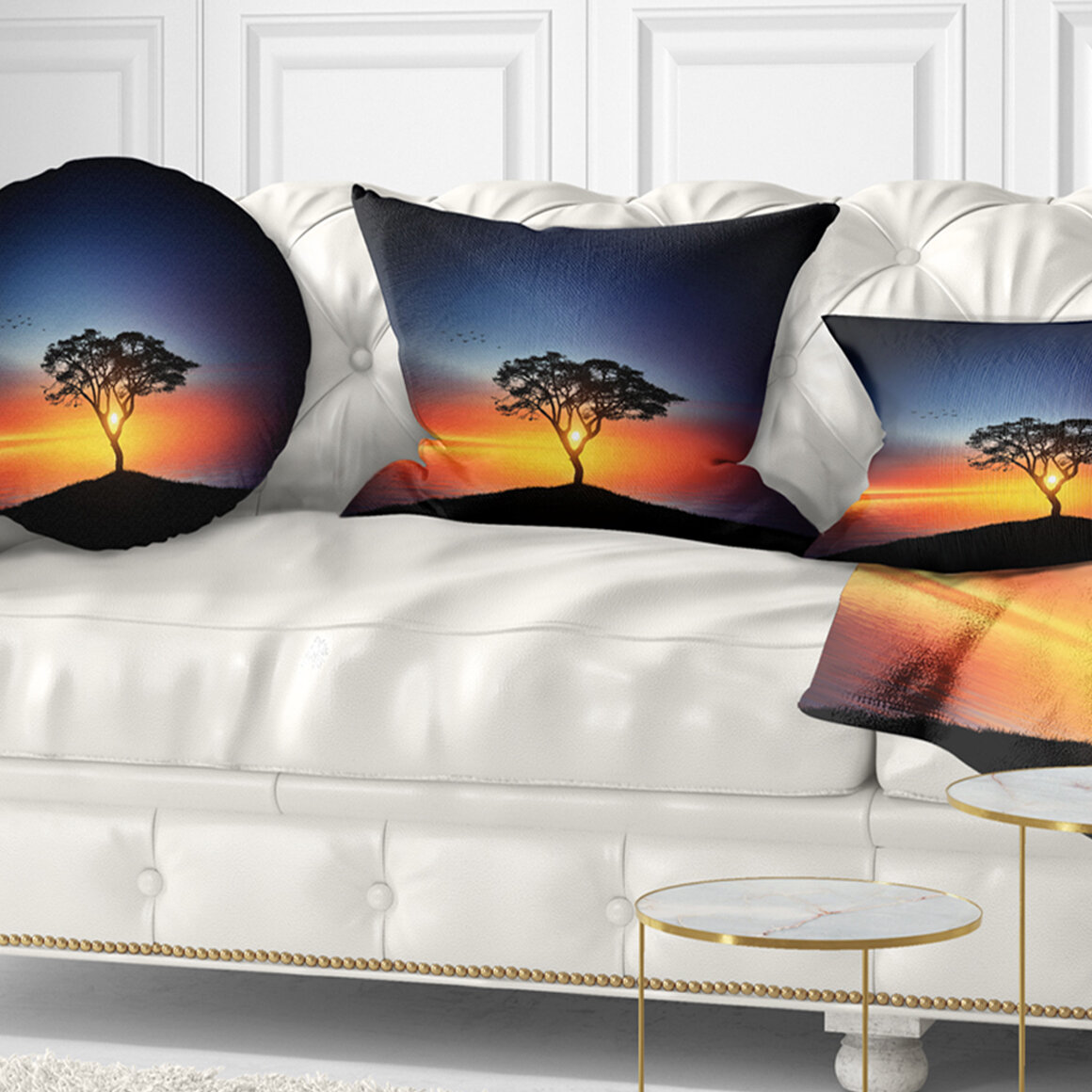 East Urban Home Landscape Beautiful Sunset Over Lonely Tree Pillow Wayfair