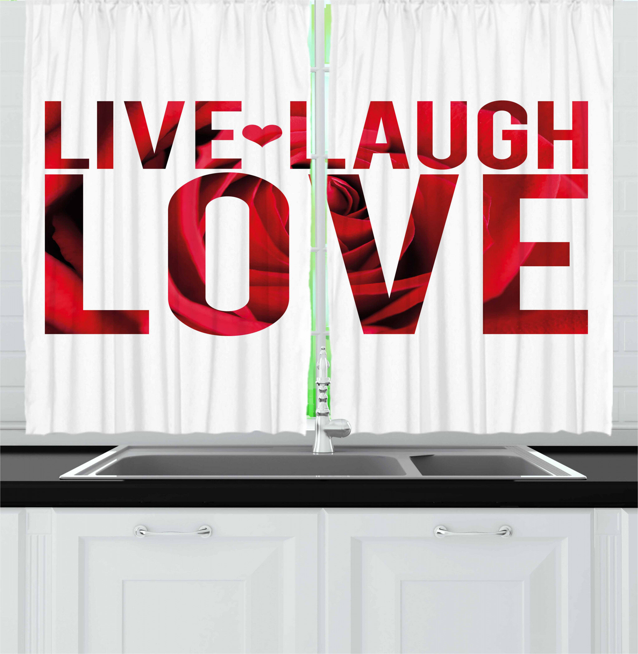 East Urban Home Live Laugh Love 2 Piece Kitchen Curtain Wayfair