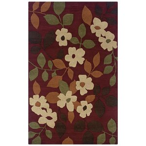 Tulsipur Hand-Tufted Burgundy Area Rug