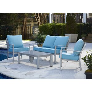 Chumbley Brushed Aluminum Patio Furniture 4 Piece Deep Seating Group With  Cushion