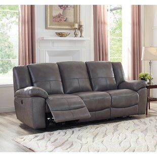 Shop Yandell Lay Flat Power Leather Reclining Sofa by Red Barrel Studio