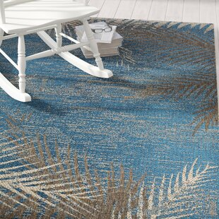 Compare prices Odilia Tropical Palms Blue/Gray/Beige Indoor/Outdoor Area Rug By Beachcrest Home