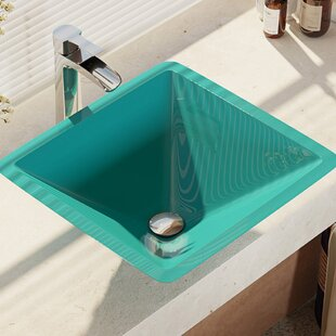 Glass Square Vessel Bathroom Sink with Faucet By René Elkay