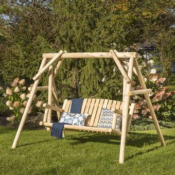 Loon Peak Walden Double Chair Yard Porch Swing With Stand Reviews Wayfair