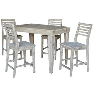 Gallaher Solid Wood Counter Height 5 Piece Pub Table Set by Gracie Oaks Designt