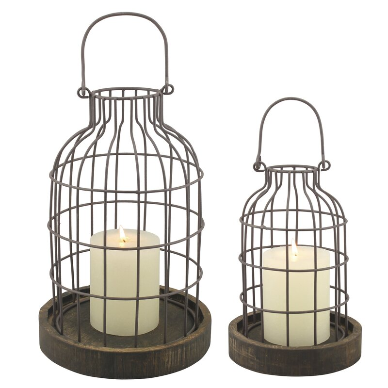 Stonebriar 2 Piece Metal/Wood Cloche Lantern Set