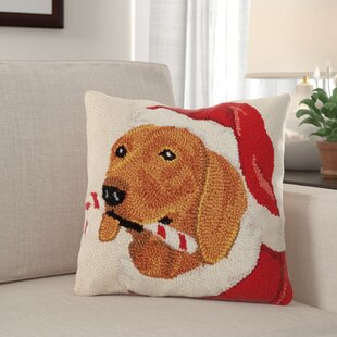 Forster Candy Cane Dachshund Dog Hook Wool Throw Pillow