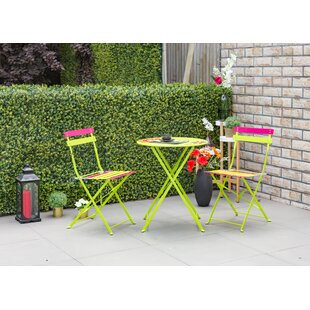 Bales Outdoor 3 Piece Metal Folding Bistro Set