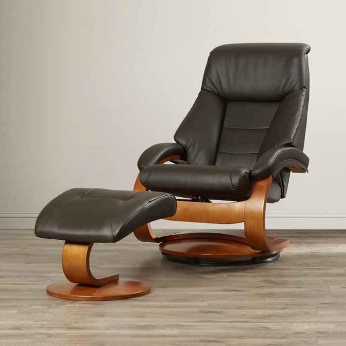 Fine Flathead Lake Leather Manual Swivel Recliner With Ottoman Gmtry Best Dining Table And Chair Ideas Images Gmtryco