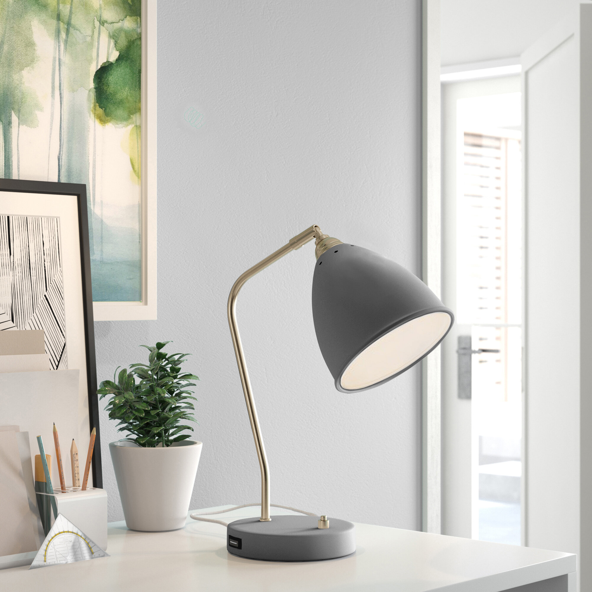 Tripod Desk Lamp Table Lamp With Grey Shade Home Office Study Night Light New