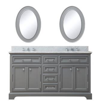 Contemporary Office Interior Design, Water Creation Derby 60 W Double Sink Bathroom Vanity Set With Mirror Reviews Perigold