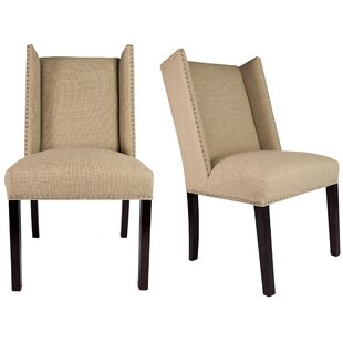 Nata Winged Nailhead Upholstered Side Chair (Set of 2) DarHome Co