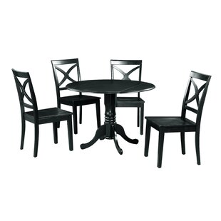 Brompton 5 Piece Drop Leaf Solid Wood Dining Set Alcott Hill
