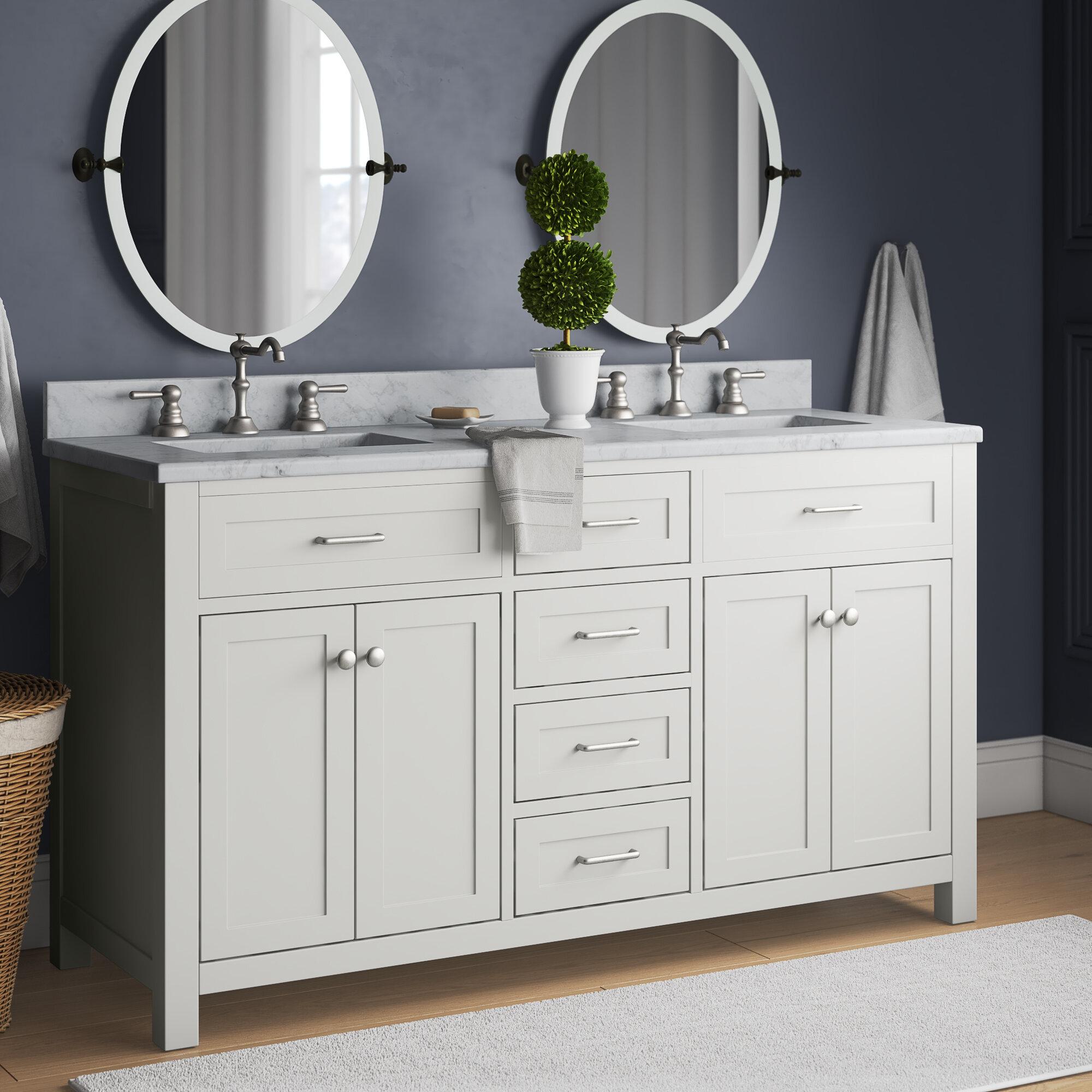 Charlton Home Daughtery 60 Double Bathroom Vanity Set Reviews Wayfair