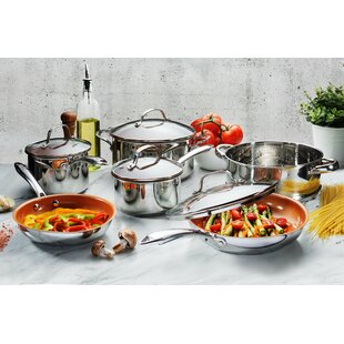 10 Piece Nonstick Stainless Steel Cookware Set