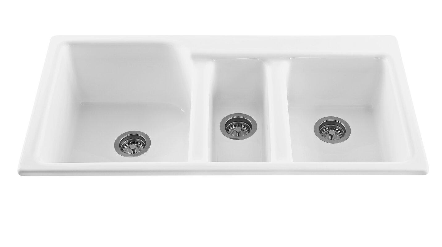 """triumph 42"""" x 22.25"""" triple bowl kitchen sink & reviews   allmodern"""