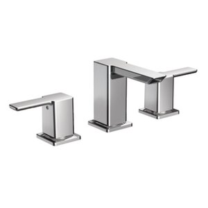 90 Degree Double Handle Widespread Bathroom Faucet with Optional Pop-Up Drain