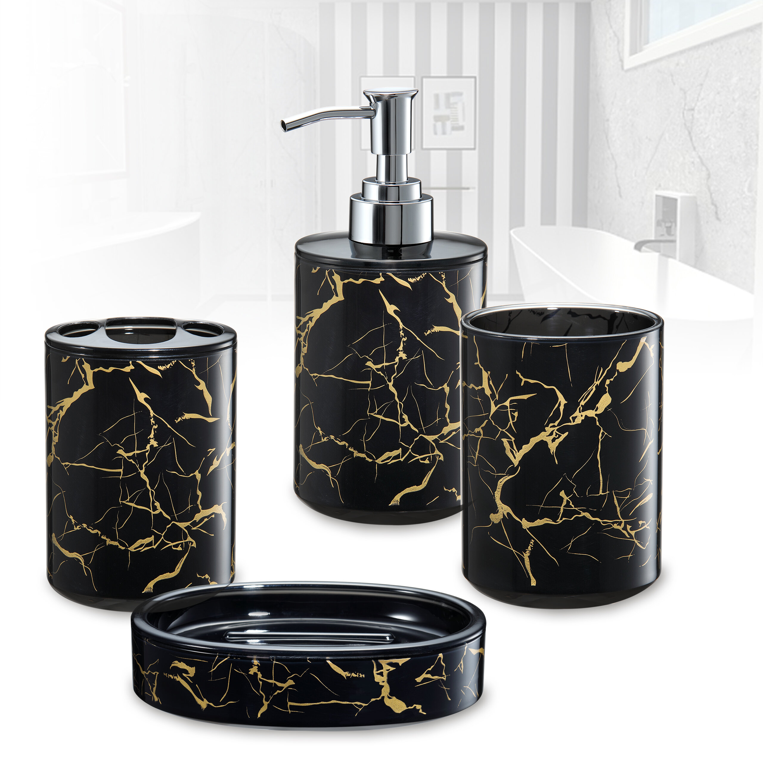 Immanuel 3d Marble Bathroom Accessory Set Reviews Wayfair Ca