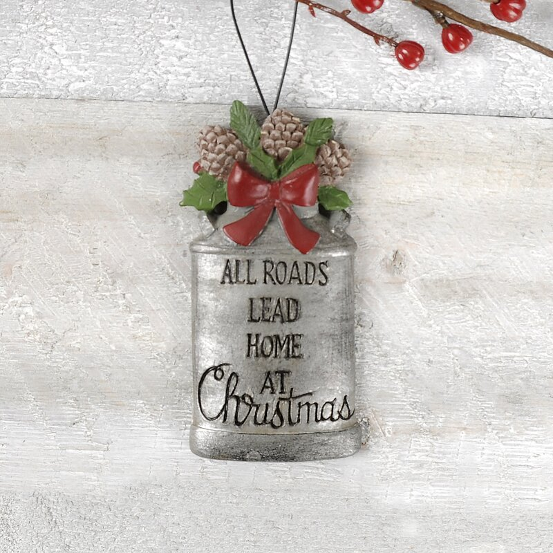 The Holiday Aisle All Roads Lead Home Milk Jug With Pine Cones Hanging Figurine Ornament Wayfair