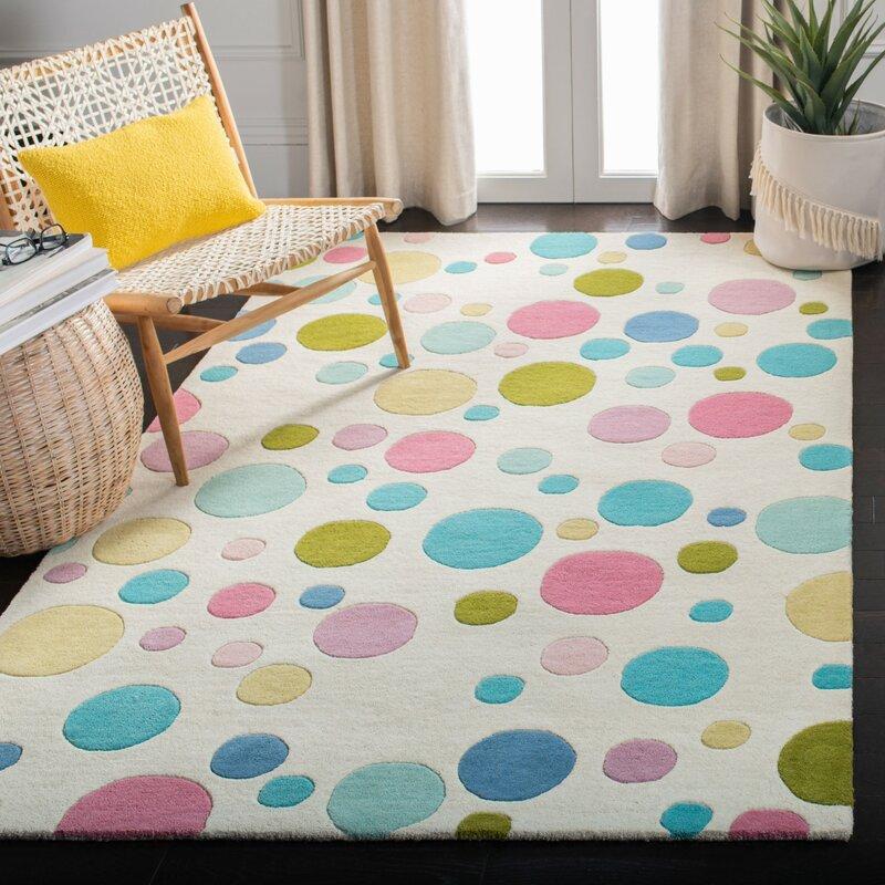 George Oliver Henricks Polka Dots Handmade Tufted Wool Ivory Blue Pink Area Rug Reviews Wayfair