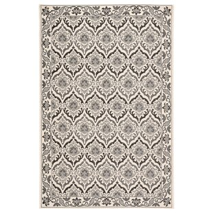 Liston Damask Ivory/Gray Indoor/Outdoor Area Rug