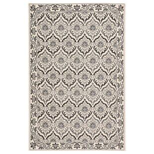 Liston Damask Ivory/Gray Indoor/Outdoor Area Rug