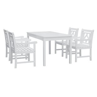 Poyen 5 Piece Wood Patio Dining Set