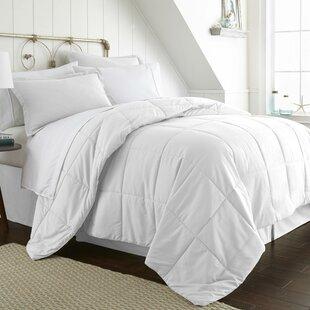White Comforter With Navy Trim | Wayfair