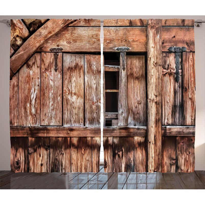 East Urban Home Rustic Abandoned Damaged Oak Barn Door With Iron