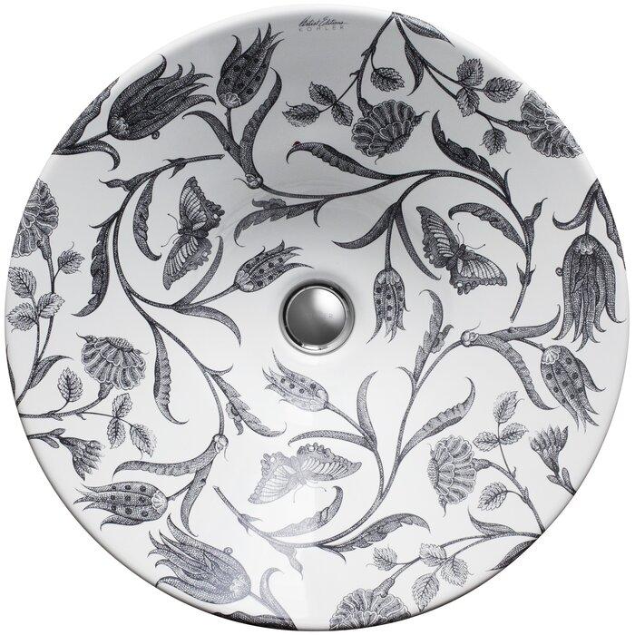 Botanical Study Ceramic Circular Vessel Bathroom Sink
