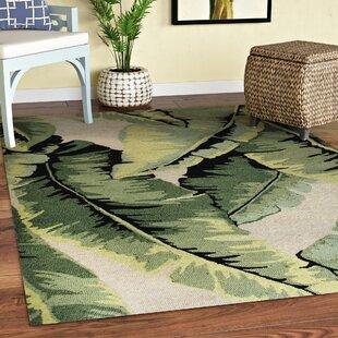 Arida Palm Hand-Tufted Green Indoor/Outdoor Area Rug By Bayou Breeze