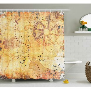 Zofia Antique Grunge Rusty Map Single Shower Curtain