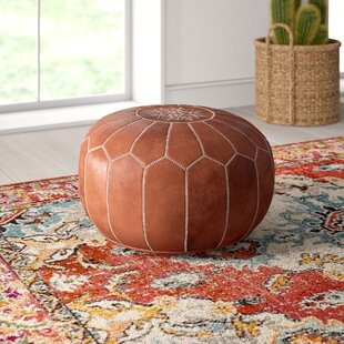 Carolos Leather Pouf by Mistana