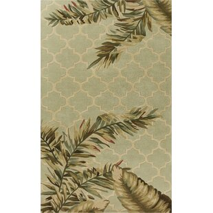 Remington Tropical Mosaic Hand-Woven Wool Sage Area Rug by Bay Isle Home
